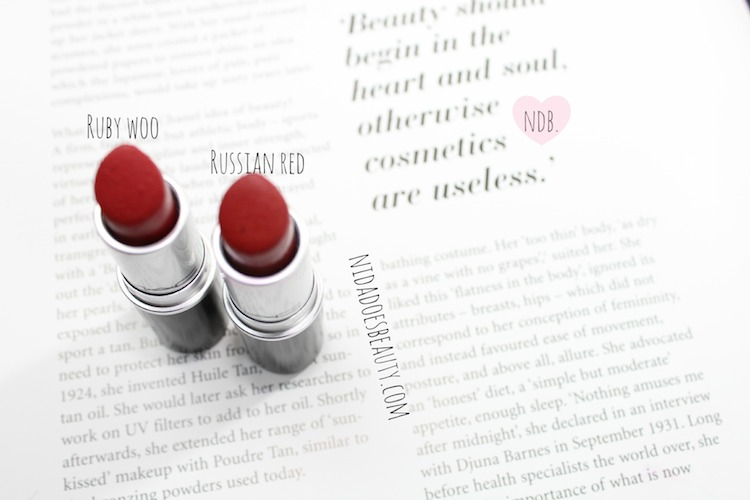 Ruby Woo, Russian Red, MAC, Comparison, beauty, review, makeup, blog, beauty bloggers