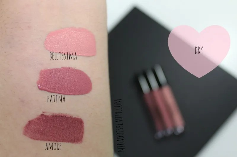 Stila Liquid Lipstick swatches in Amore, Patina, and Bellissima