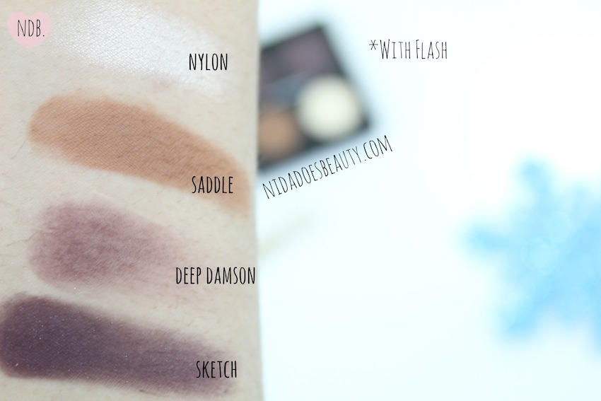 MAC quad, Sketch, Deep Damson, Nylon, Saddle, Swatches, MAC, Makeup, Beauty, winter makeup, winter products, winter beauty