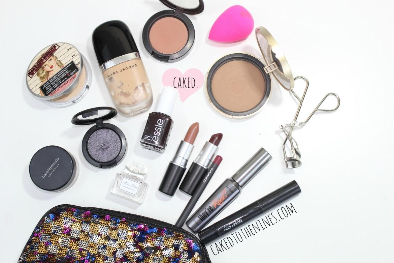 Travel makeup bag, travel makeup products, MAC, Anastasia Beverly Hills, Too Faced, Velvet Teddy, Sin, Black Grape, NYE makeup, new years eve makeup