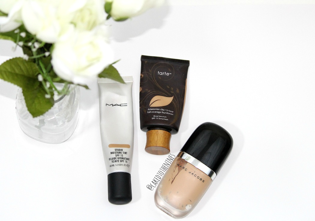 MAC Studio Moisture Tint, Tarte Amazonian Clay foundation, and Marc Jacobs Genius Gel foundation, product empties, foundation empties, marc jacobs foundation, mac foundation, tarte foundation, empties