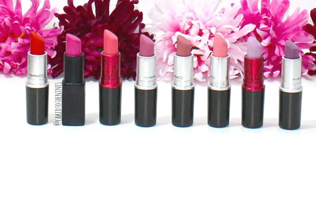 MAC Lady Danger, NARS Schiap, MAC Viva Glam Nicki, MAC Pink Nouveau, MAC Please Me, MAC Sweet Experience, MAC Viva Glam Nicki 2, MAC Up The Amp, MAC lipstick, Review, Bold MAC lipsticks