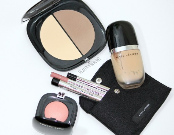 Marc Jacobs #InstaMarc Contour Powder in Mirage, Marc Jacobs Obsessed blush, Au Revoir Twinkle Pop Eye Stick, Lip pencil in Prim(rose), Highliner Gel Eye Crayon in Blacquer, Genius Gel foundation, beauty chat, marc jacobs beauty, favorite high end brand,