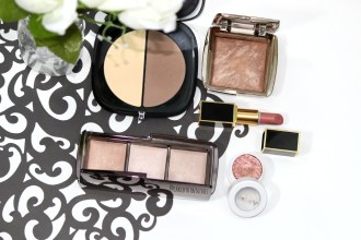 New makeup loves, Marc Jacobs #instamarc Contour Powder, Hourglass Radiant Bronze Light bronzer, Hourglass Ambient Lighting Palette, ColourPop Sequin eyeshadow, and Tom Ford First Time lipstick.