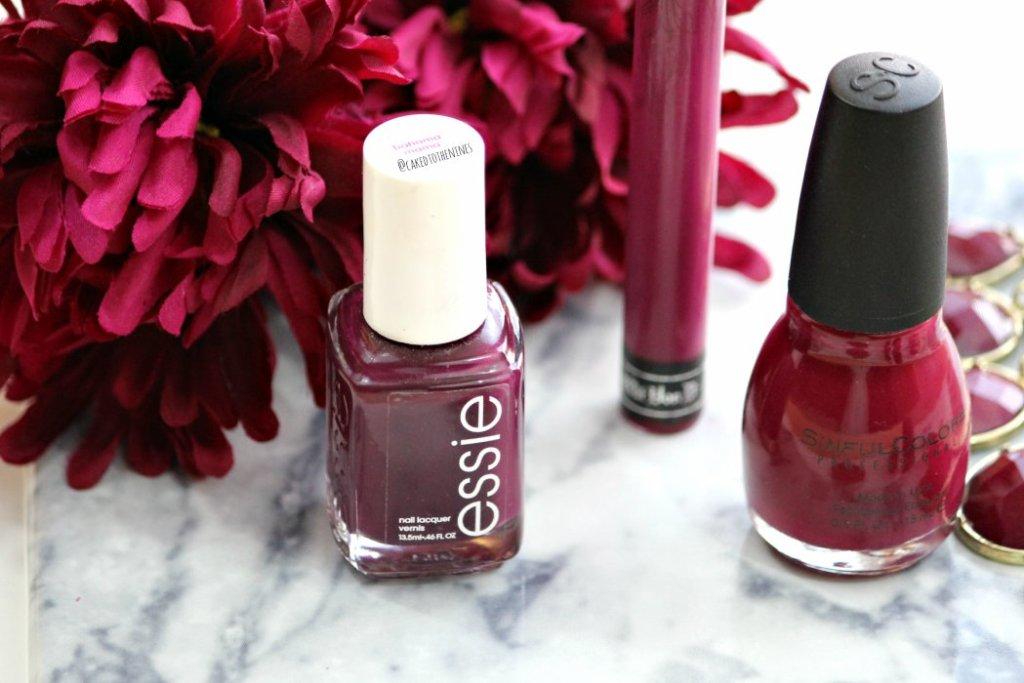 Berry toned makeup for fall, Essie Bahama Mama nail polish