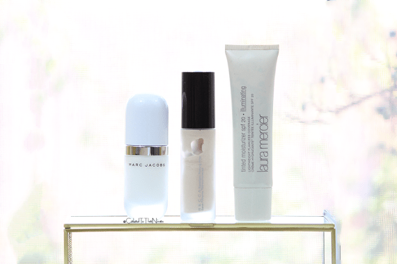 Base product for a radiant glow | left to right: Marc Jacobs Undercover Perfecting Coconut Face Primer, Becca Backlight Priming Filter, and Laura Mercier Illuminating Tinted Moisturizer