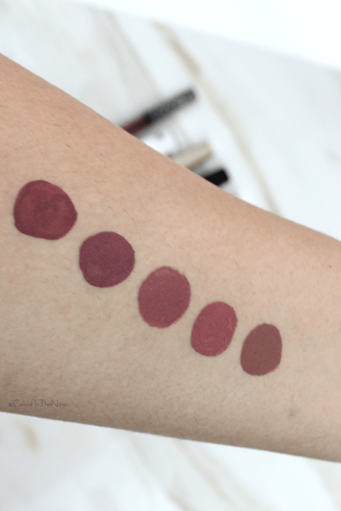 Stila Firenze Liquid Lipstick swatch and comparisons | Left to right: Kat Von D Lolita, Jeffree Star Androgyny, Stila Firenze, Stila Patina, and ColourPop Beeper
