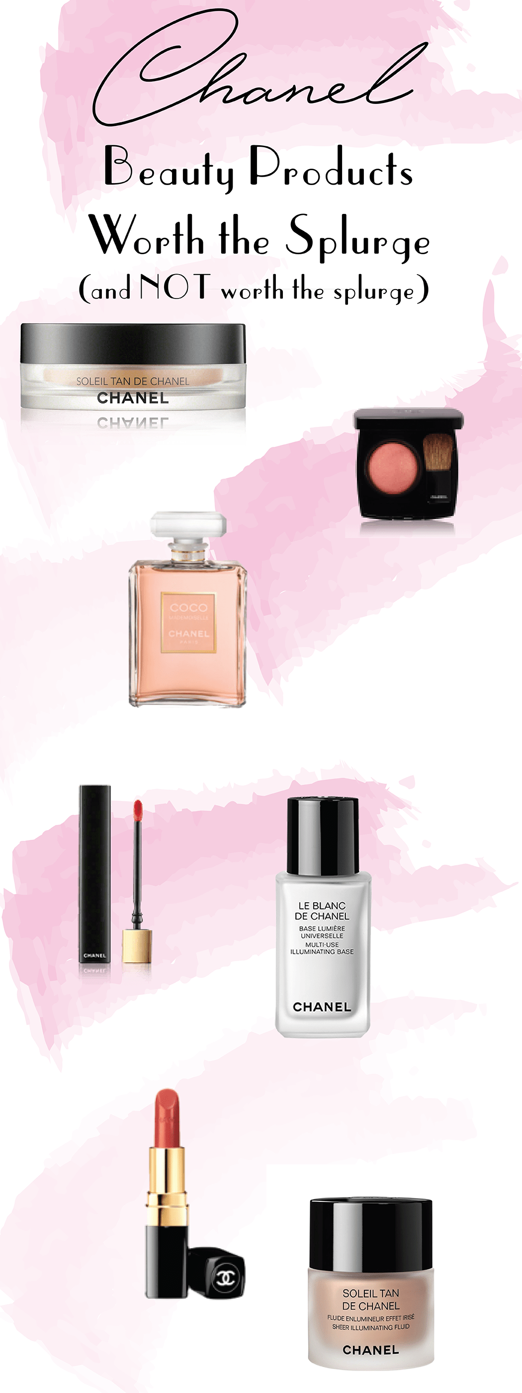 Chanel beauty products worth the splurge and Chanel beauty products not worth the splurge including Coco Mademoiselle perfume, Rouge CoCo lipstick, Rouge Allure Gloss, Soleil Tan De Chanel bronzer, Soleil Tan de Chanel Fluid, Chanel le blanc de chanel base