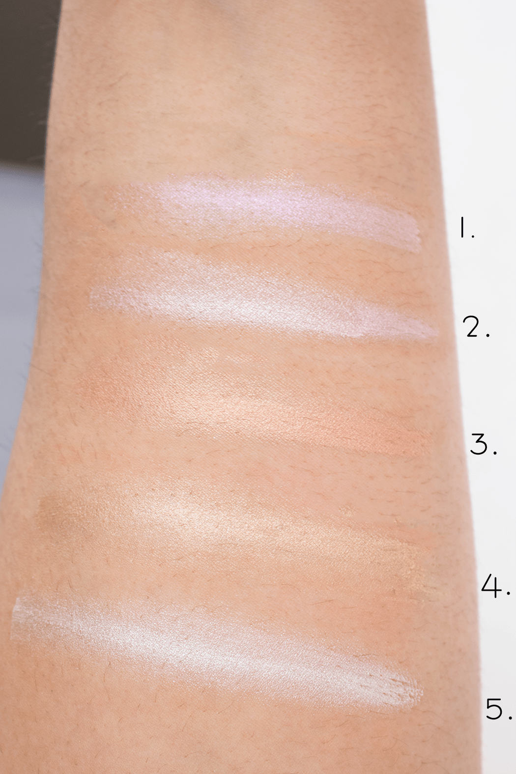 Jouer Mermaid Glow Palette swatches   1. Crystal 2. Seashell 3. Champagne 4. Tiare 5. Camellia