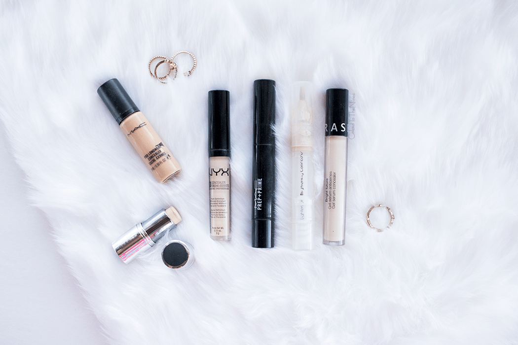 Concealers for Every Occasion featuring NYX HD concealer, Sephora Bright Future Gel Serum concealer, MAC Prep and Prime Light Boost, Flower Brightening Concealer Pen, Cover FX Cover Click Stick, MAC Pro Longwear concealer