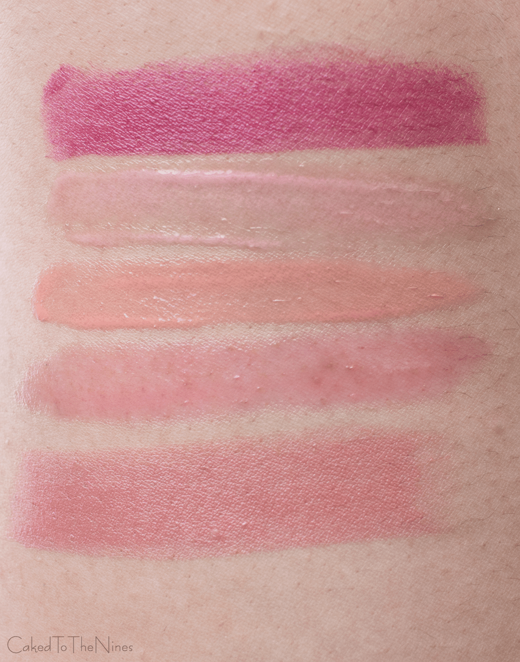 moisturizing lip products swatches