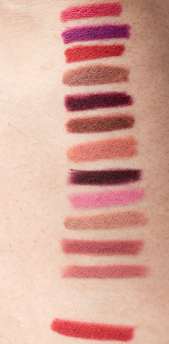 Swatches top to bottom: Pink Coral, Wild Violets, Very Cherry, Totally Toffee, Rich Wine, Rich Chocolate, Purely Nude, Plum Passion, Palest Pink, Nude Whisper, Magnetic Mauve, Dusty Rose, Clear Brick Red