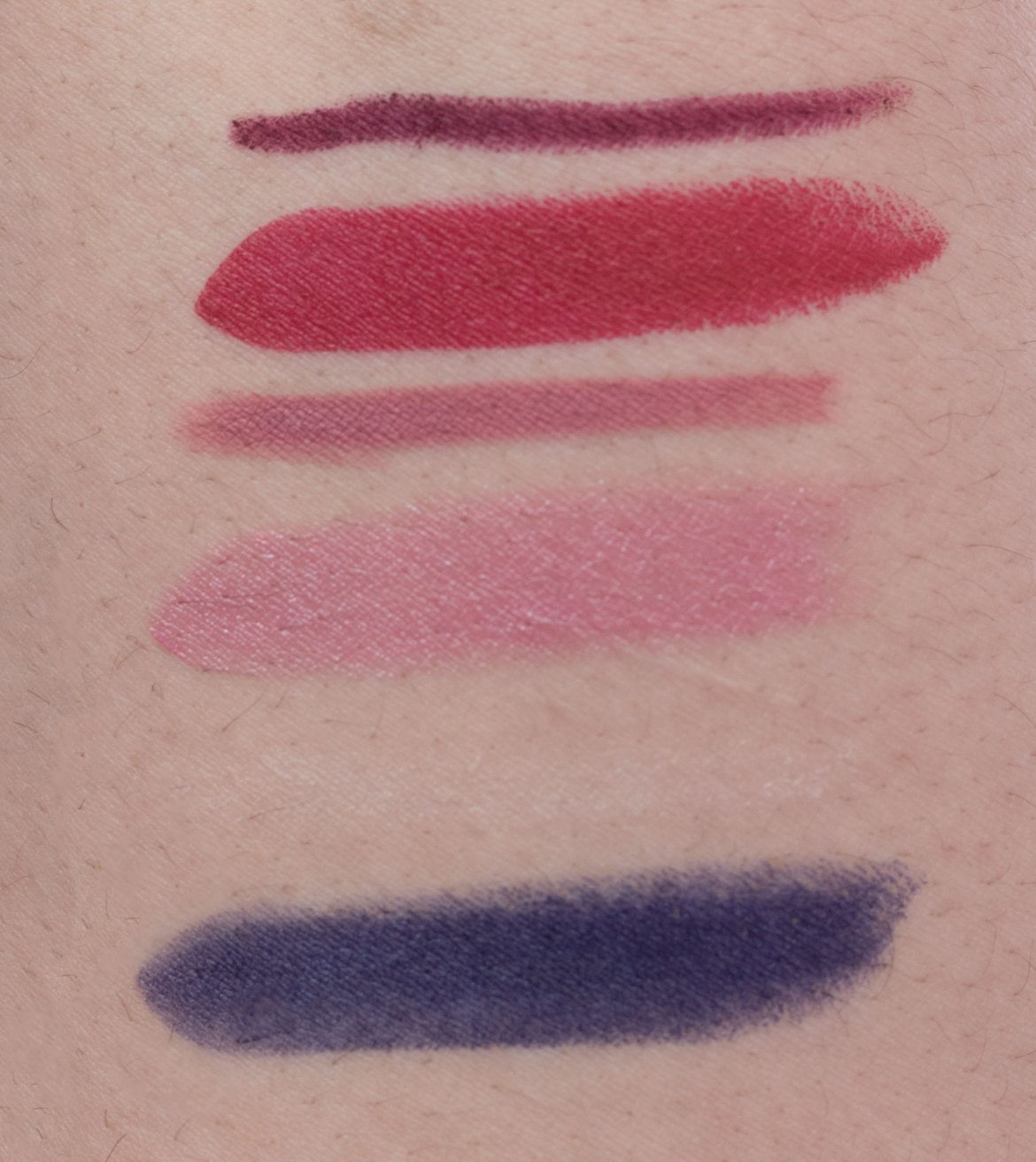 Top to bottom: Rich Wine, Rich Ruby, Dusty Rose, Born With It, Clear, Midnight Blue