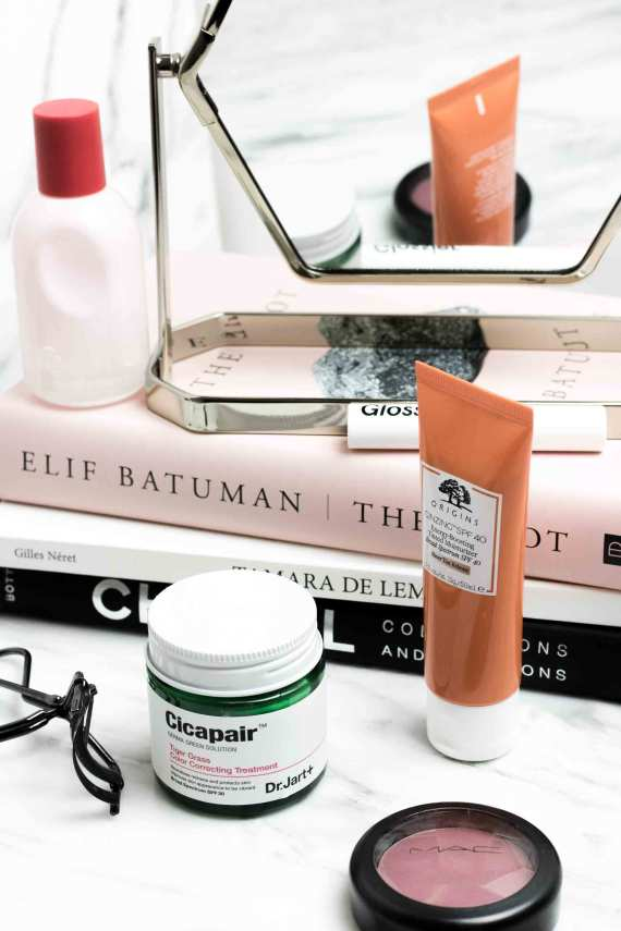 Beauty products I'm loving   Origins Tinted Moisturizer, Dr. Jart Cicapair Color Treatment, Glossier Like, Glossier You, MAC Breath of Plum