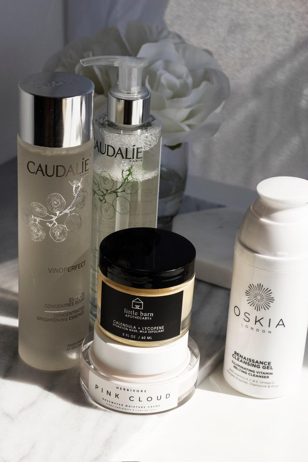 Caudalie essence, caudalie micellar water, Herbivore pink cloud, Little Barn Apothecary face mask, Oskia Renaissance Cleansing Gel