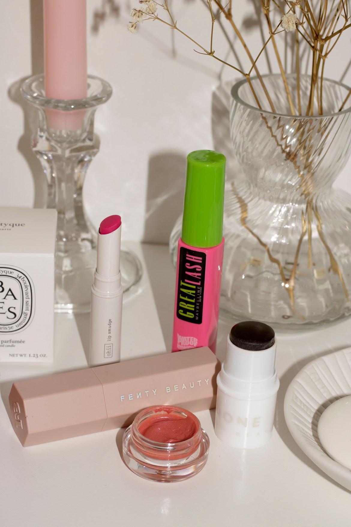 makeup vanity featuring ohii beauty, maybelline great lash, incredible cosmetics cream blush, lip smudge, bronzing gel