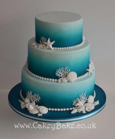 Blue Ombre Sea themed Wedding Cake