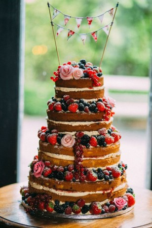 Naked Berry Weddng Cake