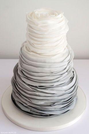 Grey Ombre Ruffle Wedding Cake