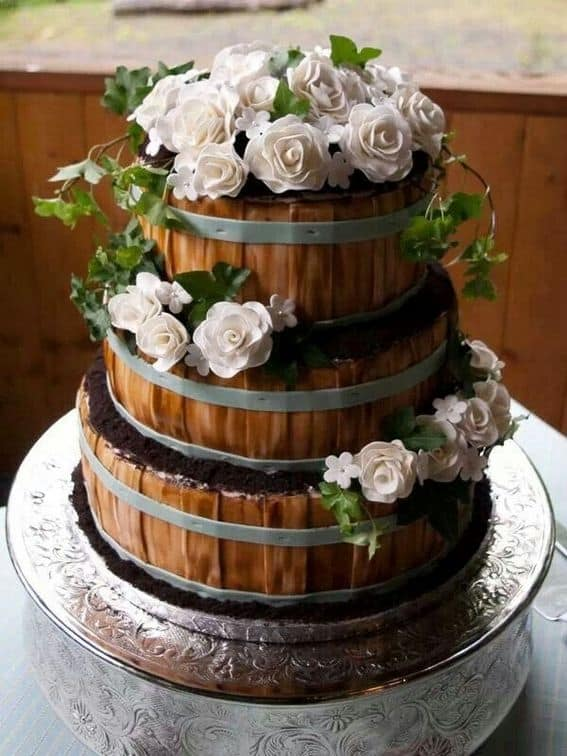 Rustic Style Wedding Cakes with Barrel Decoration