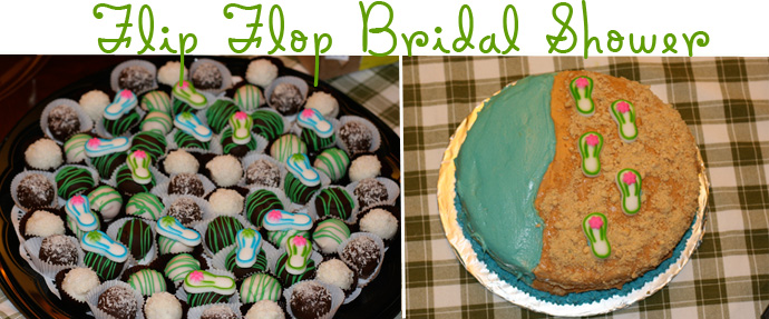 Cake Balls tray for a bridal shower with a luau/flip flop theme.