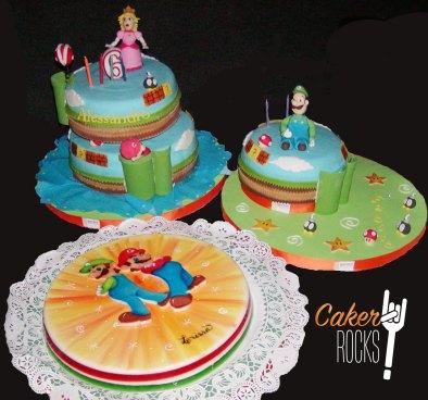 Tartas y Gelatina pintada a mano Mario Bros