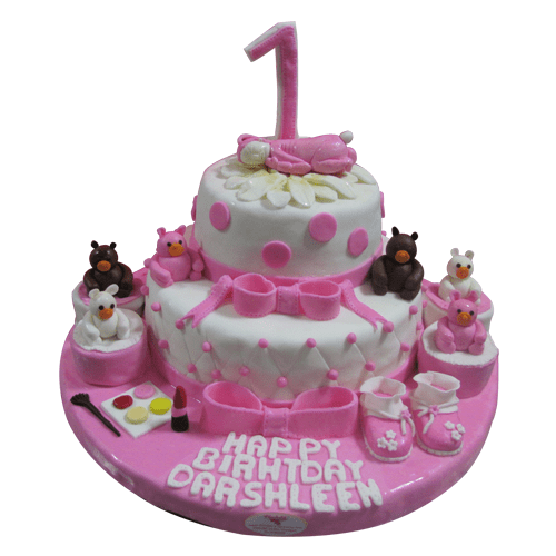 Lovely Pink First Birthday Cake