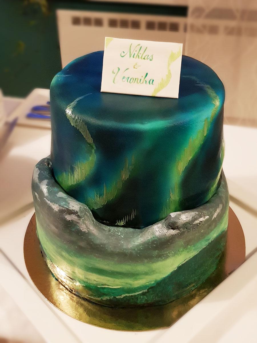 bröllopstårta wedding cake norrland norrsken northern lights