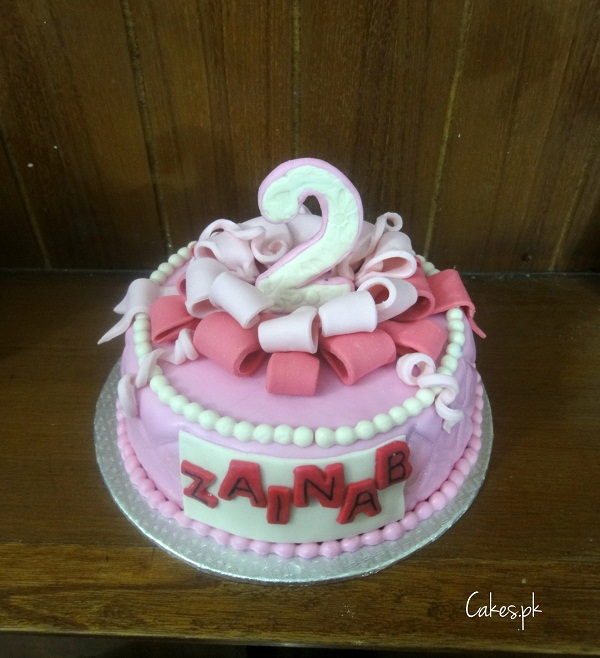 Pink Second Birthday Cake Cakes