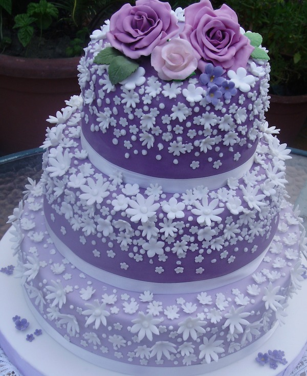 3 tier Voilet Flower Rose Wedding Cake Mumbai