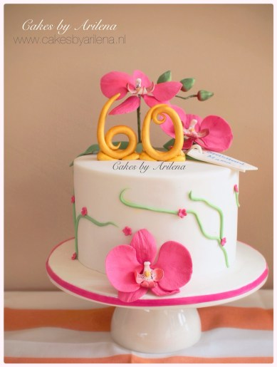Orchid theme cake