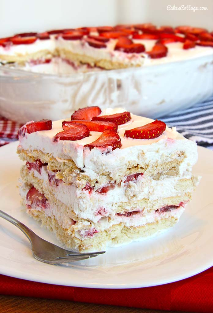 No Bake Strawberry Icebox Cake Cakescottage