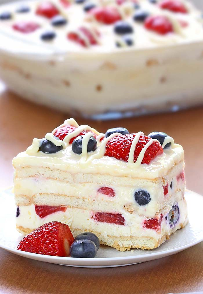"No Bake Summer Berry Icebox Cake Dessert Recipe | Cakes Cottage ""Looking for a quick and easy Summer dessert recipe? Try out delicious No Bake Summer Berry Icebox Cake!"""