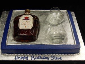 Whiskey and glass sculpted cake