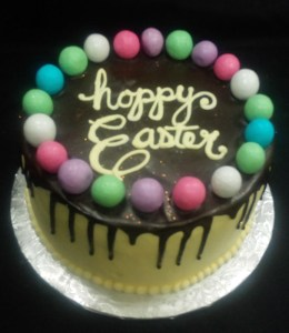 Easter Cake with chocolate drizzle and mini eggs