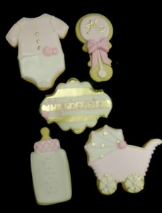 Decorated cutout cookies for baby shower