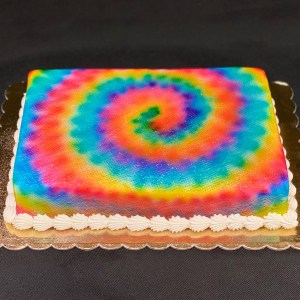Frosted cake with a tie dye look