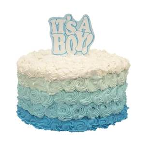 A butter Cream cake with a lot of swirls with colors going from Darker Shade of Blue to White