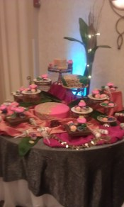 over the top, ornate, baroque, gold, lights, pink, fuchsia, cupcakes, cake pops, candy, tiers