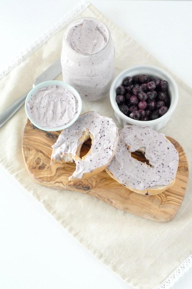 blueberry cream cheese spread, homemade spread, cream cheese, blueberry cream cheese, blueberries, bagel sprea