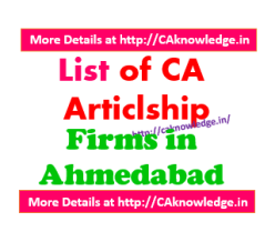 List of CA Articleship Firms in Ahmedabad