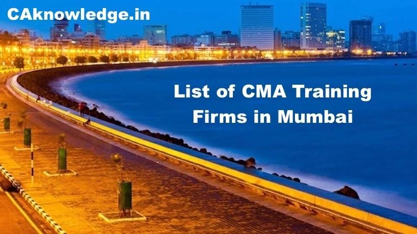 List of CMA Training Firms in Mumbai