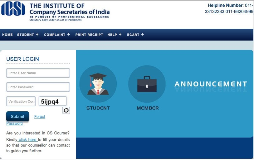 ICSI CS Online Exam Form