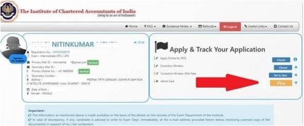 CA Final, CA IPCC Admit Card