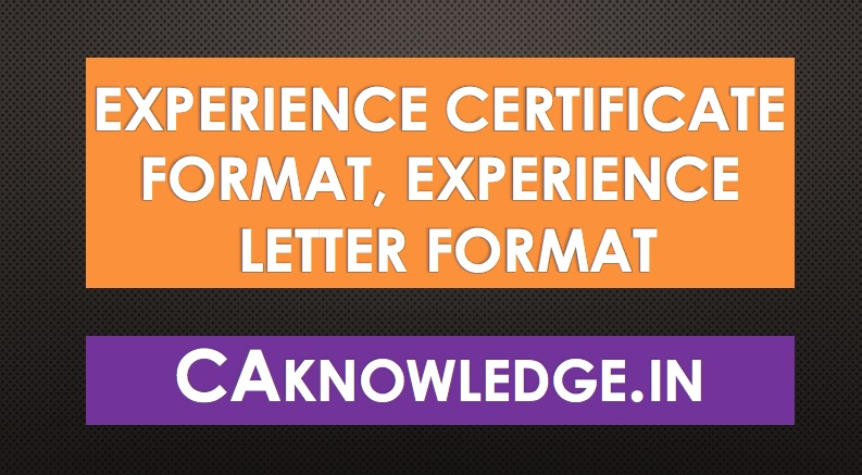working experience certificate format