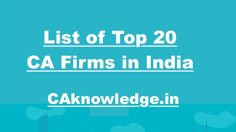 List of Top 20 CA Firms in India