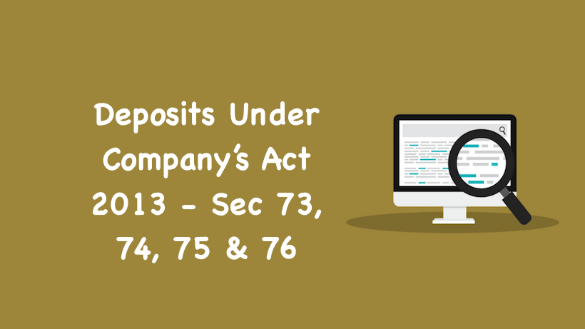 Deposits Under Company Act 2013