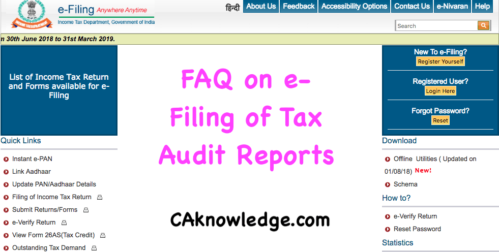 FAQ on e-Filing of Tax Audit Reports