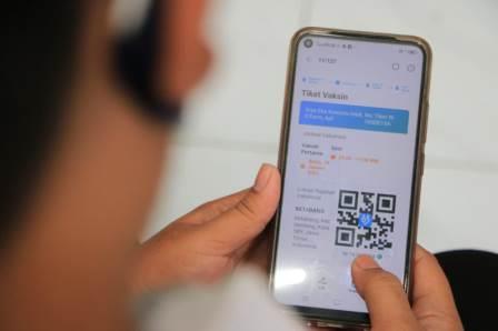 Tampilan E-Tiket yang kini digunakan oleh Pemkot Surabaya bagi tenaga kesehatan yang akan menerima vaksin covid-19