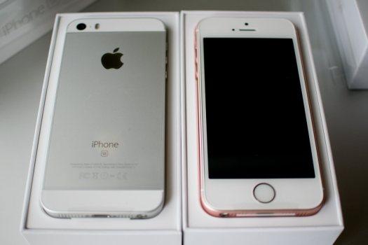 iPhone SE シルバーとローズゴールド